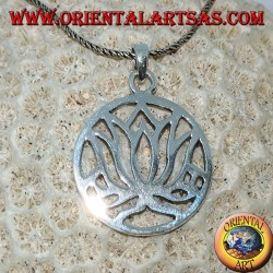 Simple silver pendant with lotus flowers in the circle