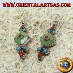 Серебряные серьги с тибетским натуральным античным бирюзовым и коралловым
