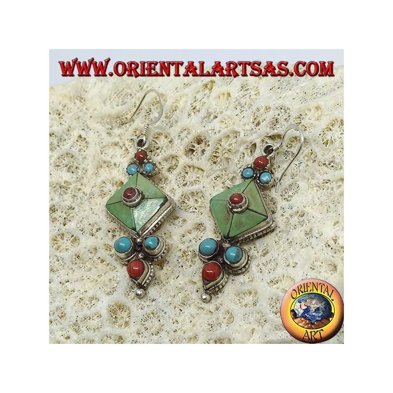 Sas En Art Corail Argent Avec Oriental Turquoise Boucles Naturelle Tibétaine D'oreilles Bari Antique Et 3AR54jL