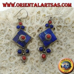 Silver earrings with lapis lazuli and coral (Typical Nepalese earring)