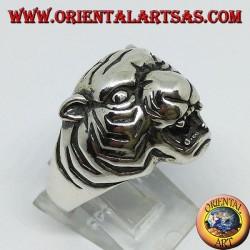 Silver ring tiger head
