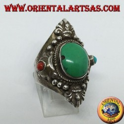 Anello in argento 925 con turchese antico Tibetano e corallo con decorazion