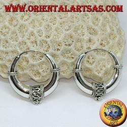 Orecchini in argento a cerchio mezzaluna decorato grande