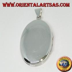 Ciondolo portafoto in argento liscio ovale piatto (29*20)