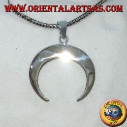 Pendant in silver, half-moon with points downwards