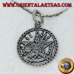 Серебряный кулон, пентаграмма Тетраграмматон (маленький)
