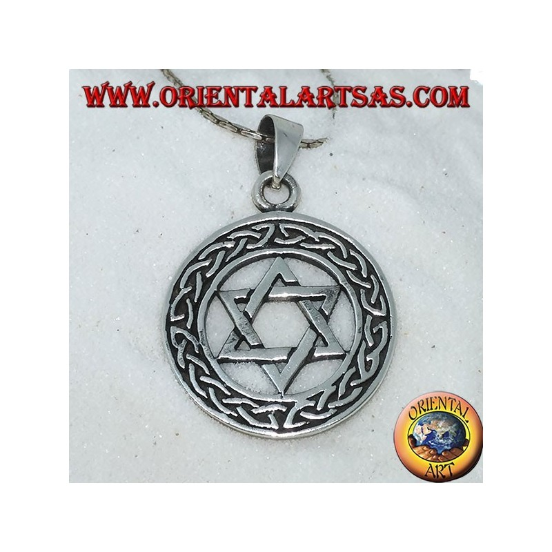 Ciondolo in argento stella di David nel cerchio con nodo