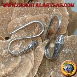 Silver hook earrings in the shape of a cobra (snake)