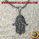 Ciondolo in argento a forma di mano di Fatima hamsa