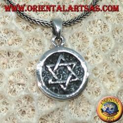 Серебряная медаль кулон с низкой рельефной звездой Давида