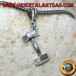 Ciondolo in argento 925 ‰ il manubrio attrezzo da palestra