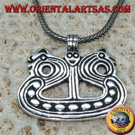 Ciondolo in argento nave con dragoni vichinga Drakkar