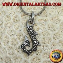 Silver pendant, HEI Matau fish hook typical of the Hawaiian Islands