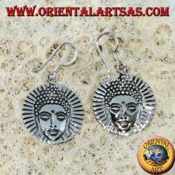 Silver Buddha face earrings