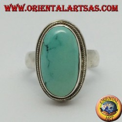 Simple silver ring with oval natural turquoise