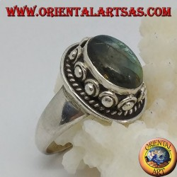Silver ring with oval labradorite and stud set