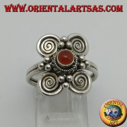Silver ring with round carnelian and 4 spirals around