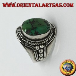 Silver ring with antique Tibetan turquoise and dots on the sides