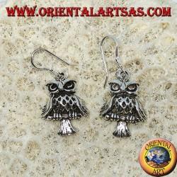 Серебряные серьги в виде совы