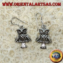 Silver earrings in the shape of owl, owl