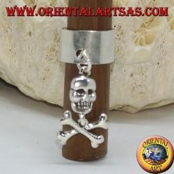 Ушная манжета в серебряной полосе с подвесным черепом