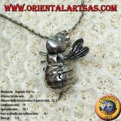 Colgante en plata abeja reina moviendo móvil cabeza y alas