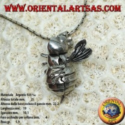 Pendant in silver bee queen mobile moves head and wings