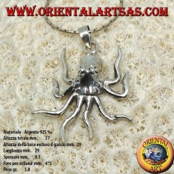 Pendant in silver the octopus mobile symbol of intelligence