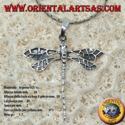 Silver pendant Big dragonfly