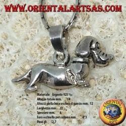 Ciondolo in argento il cane bassotto mobile (gira la testa)