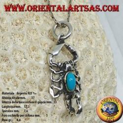 Ciondolo in argento, scorpione con turchese sul corpo