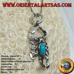 Silver pendant, scorpion with turquoise on the body