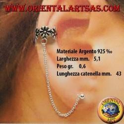 Boucle d'oreille manchette d'oreille avec chaine en argent, petites fleurs