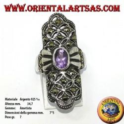Anello in argento con marcasite e ametista naturale , lungo
