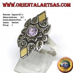 Серебряное кольцо с марказитом, круглым натуральным аметистом и золотой фольгой