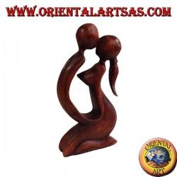 Sculpture bisou en bois de suar, 20 cm