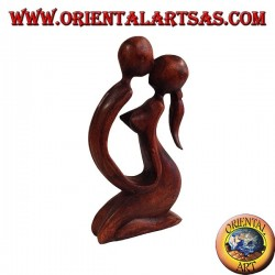 Sculpture kiss in suar wood, 20 cm