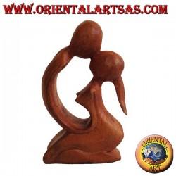 Sculpture bisou en bois de suar, 15 cm
