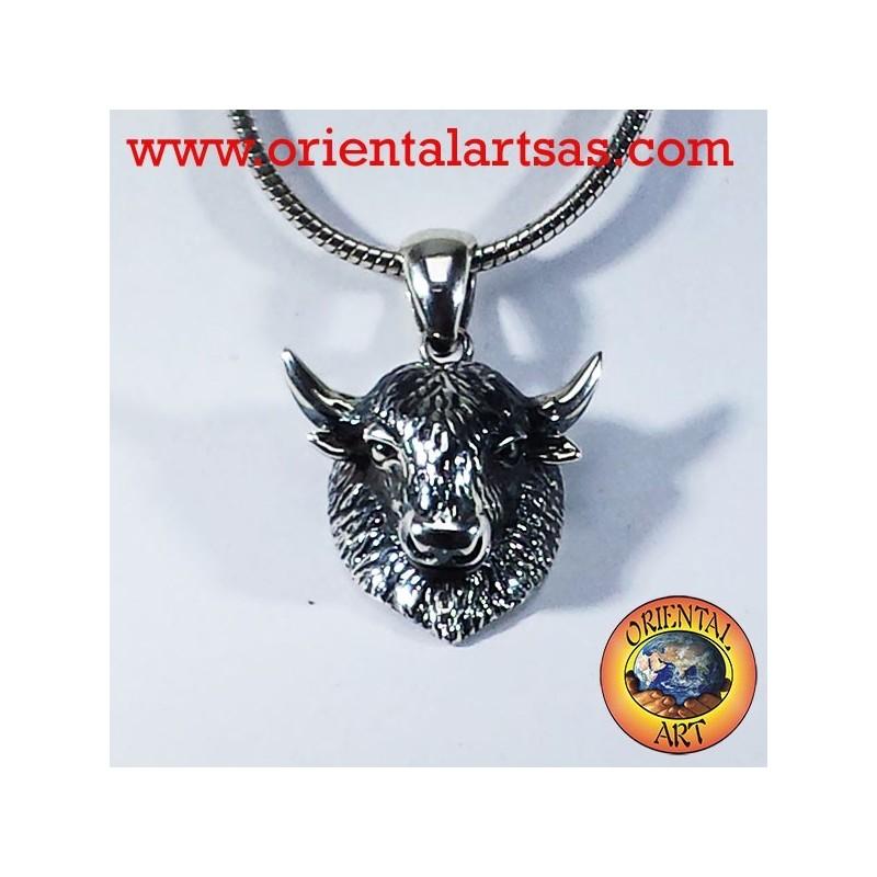 pendente bisonte in argento