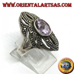 Серебряное кольцо с марказитом и натуральным овальным аметистом