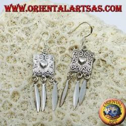Boucles d'oreilles en argent, bouclier de coeur et pendentifs