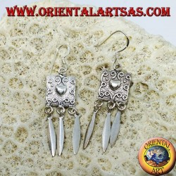 Серебряные серьги, сердечный щит и подвески