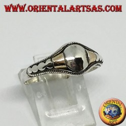 Anello in argento fatto a mano con inserti in lamina di oro 14 karati