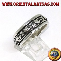 Ring in silver anti-stress rotating, broken heart, heart with arrow