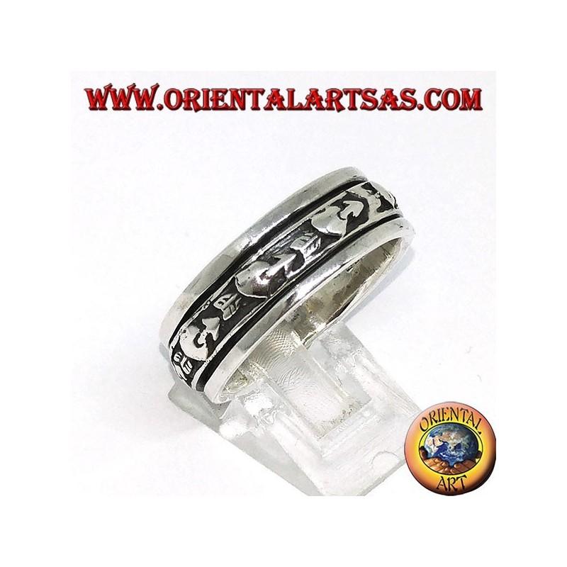 Anello fedina in argento girevole antistress, cuore infranto