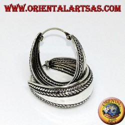 Silver hoop earrings with increasing width, smooth with braids