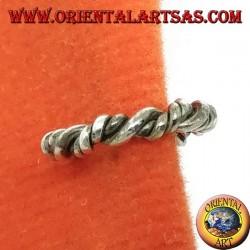 Сережка-манжета в серебре, витой круг (искусственная серьга не нуждается в отверстии)