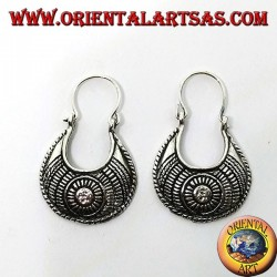 Carved silver earrings with a carved bag of ethnic style