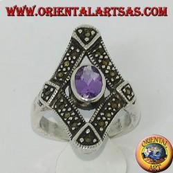 Серебряное кольцо в ромбе с марказитом и натуральным овальным аметистом