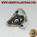 Anello in argento a rombo con marcasite e ametista ovale naturale